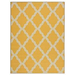 Ottomanson Glamour Collection Yellow Contemporary Moroccan Trellis Design Non-Slip Kids Rug, 3\'3\