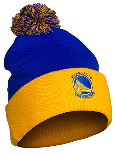 NBA Authentic Licensed Basketball Cuff Pom Pom Beanie Knit Hat Cap - Warriors Royal Gold by NBA