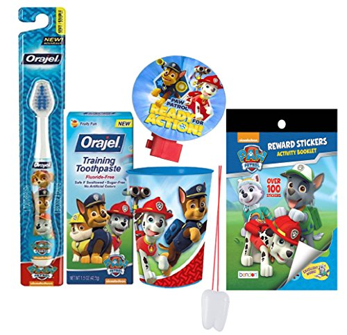 "Paw Patrol 5pc All Inclusive Bathroom Collection! Toothbrush, Toothpaste, Rinse Cup, Night Light & Reward Stickers! Plus Bonus ""Remember to Brush"" Visual Aid!"