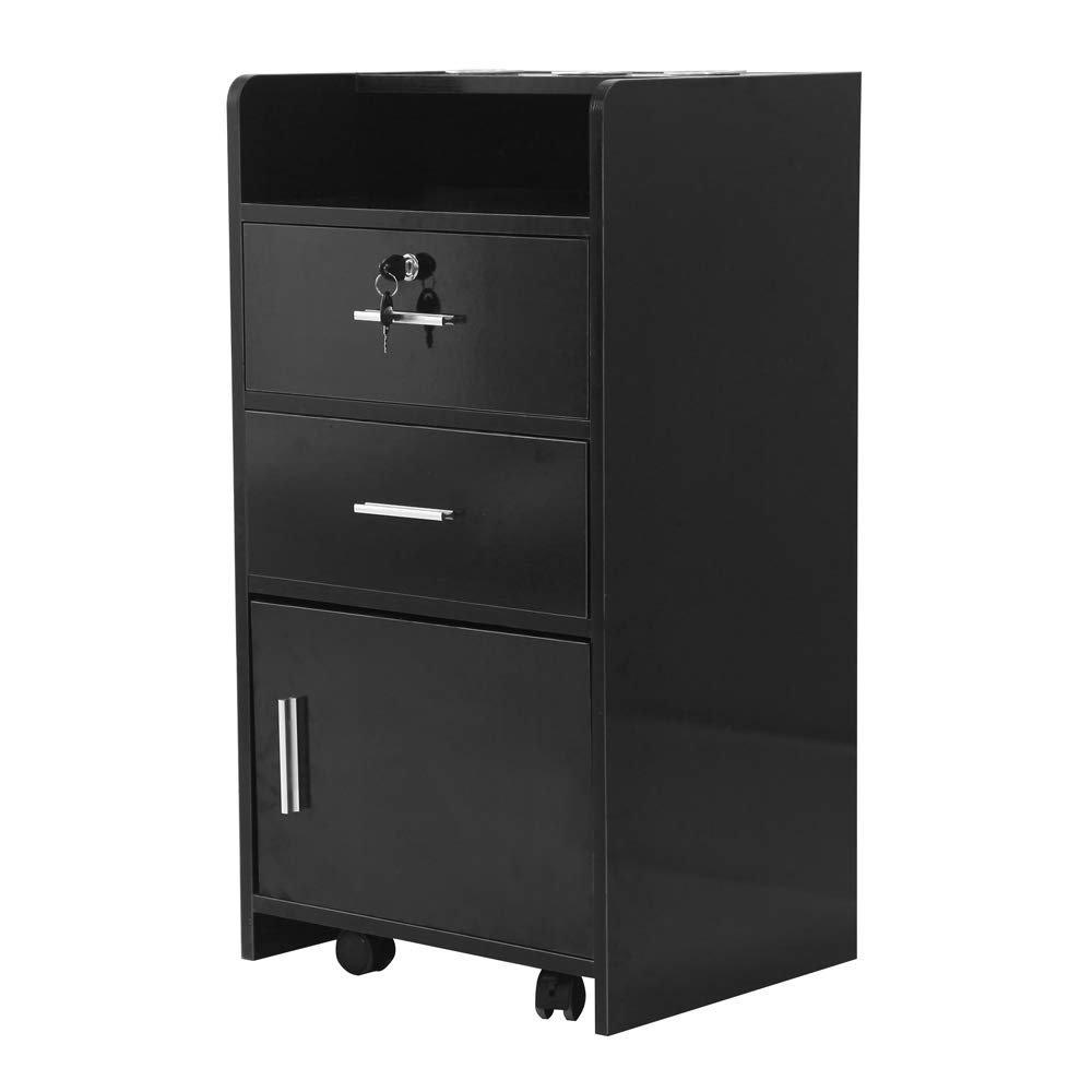 Salon Wood Rolling Drawer Cabinet Trolley Spa 3-Layer Cabinet Equipment with A Lock Black & White (Black) by hellowland (Image #1)