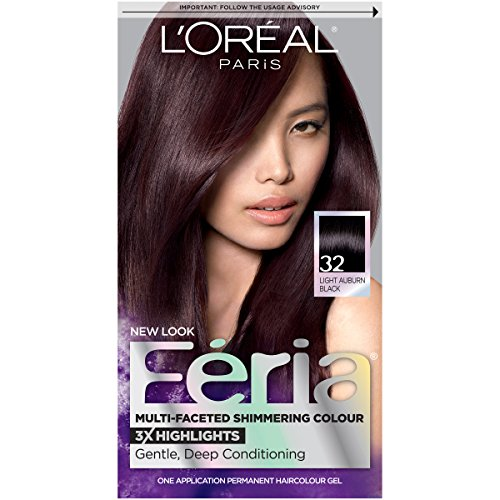 Multi Faceted Light - L'Oreal Paris Feria Multi-Faceted Shimmering Color, 32 Midnight Ruby (Light Auburn Black)