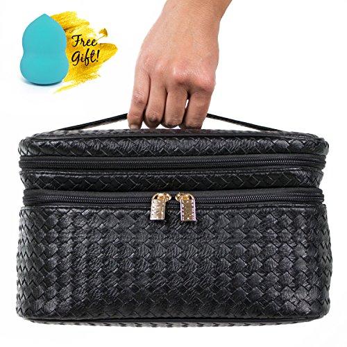 blush-train-case-style-double-zipper-cosmetic-makeup-bag-organizer-with-blender-sponge