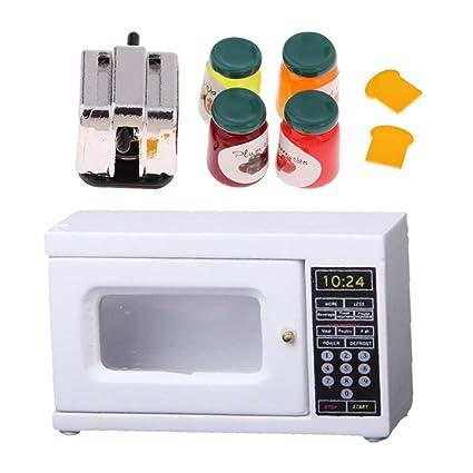 KESOTO 1/12 Dollhouse Miniature Kitchen Supplies Microondas Panificadora con Comida