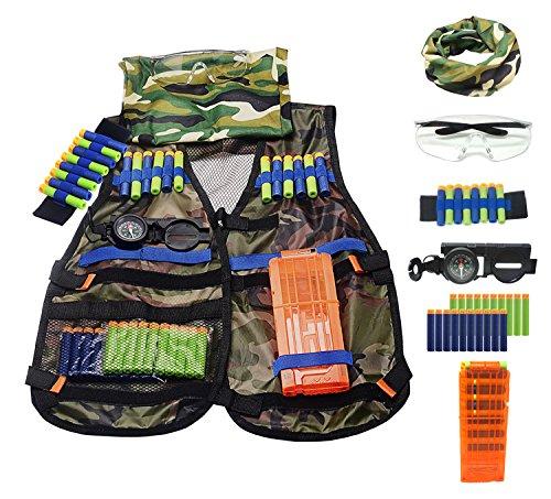 Amzmalt Tactical Vest Kit, Kids Elite Tactical Vest Kit For N-strike Elite Series Blasters (Camouflage)