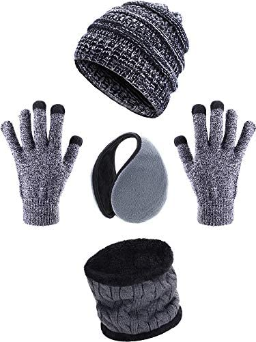 Blulu 4 Stücke Ski Warm Set mit Winter Mütze Kreis Schal Draussen Handschuhe und Ohrwärmer für Erwachsene Kinder