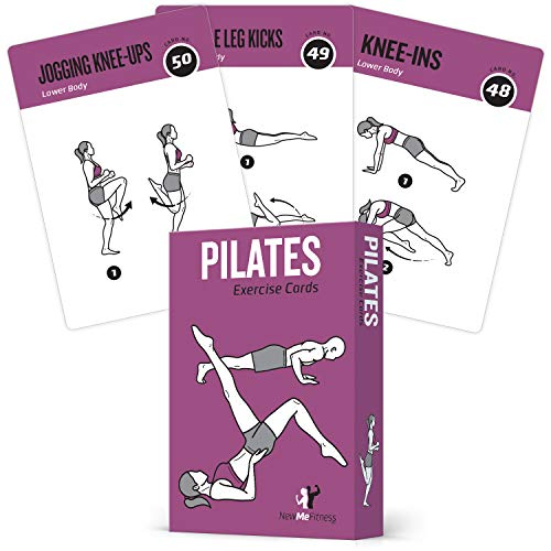 Pilates Exercise Cards, Set of 62 for Women and Men :: for Home, Gym or Studio :: 50 Mat Exercises, 12 Stretches, 6 Total Workout Routines for Beginner to Advanced :: X Large, Waterproof & Durable (Best Home Exercise Routine)