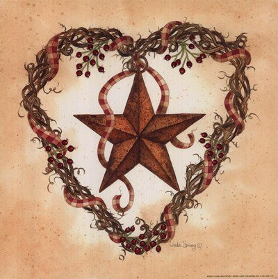 Barn Star with Heart Wreath by Linda Spivey - 10x10 Inches - Art Print Poster - Linda Spivey Hearts