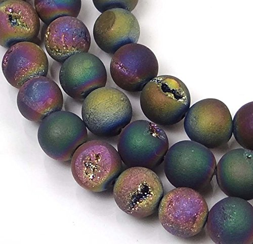 (8mm Druzy Agate Matte Peacock Rainbow Round Beads (22 pcs), Beading, Jewelry Making, DIY Crafting, Arts & Sewing by Perfect Beeds)