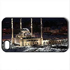 huge mosque in winter - Case Cover for iPhone 4 and 4s (Religious Series, Watercolor style, Black)