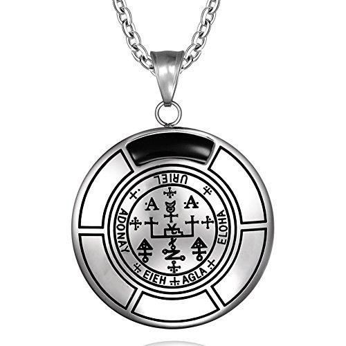 - Sigil of Archangel Uriel Magic Medallion Angel Amulet Simulated Black Onyx Pendant 22 inch Necklace