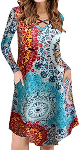 Jushye Women Mini DressLadies Long Sleeve O Neck Floral Print Dress Cross BandagesPocket Short Dress / Jushye Women Mini DressLadies Long Sleeve O Neck Floral Print Dress Cross BandagesPocket Short Dress