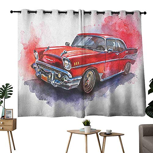 Mannwarehouse Watercolor Light Luxury high-end Curtains Hand Drawn Old Fashioned Car Antique Vehicle Retro Outdated Abstract Artwork Set of Two Panels 72