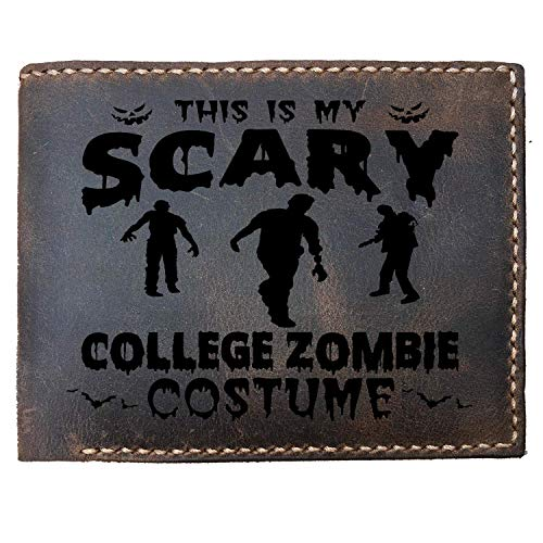 Lobsteray Scary College Zombie Costume Custom Laser Engraved Leather Bifold Wallet for Men Halloween Party Gifts]()