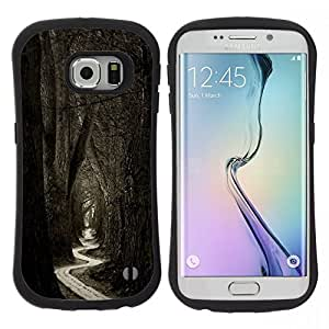 "Hypernova Slim Fit Dual Barniz Protector Caso Case Funda Para Samsung Galaxy S6 EDGE [Significado Bosque Negro Blanco Naturaleza""]"