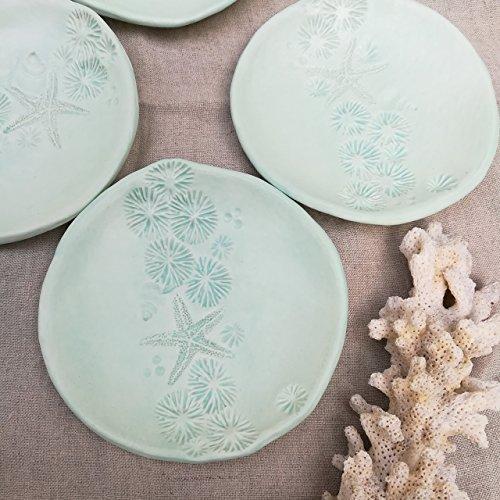 Mint green starfish Ring dish, catch all, soap dish, small plate, trinket dish gift. Ocean theme, beach house decor.