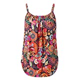 Women Summer Floral Printed Sleeveless Vest Top Spaghetti Strap Cami Tank Tops Sling Camisole Blouse T-Shirt Red