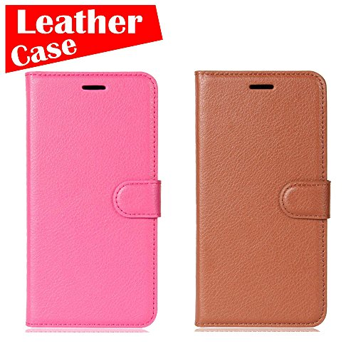 LG K10 Case, 2 Pack case [Brown+Rose Red] [eBuyLife] Phone Case For LG K10, Flip Leather Protective Wallet Slim Folio Cover Credit Card Slots Cash Clip Stand Holder Magnetic - Charge Cover Liv