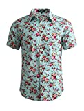 uxcell Men Casual Cotton Slim Fit Floral Print Short Sleeve Button Down Shirt (US 42) Large Mint