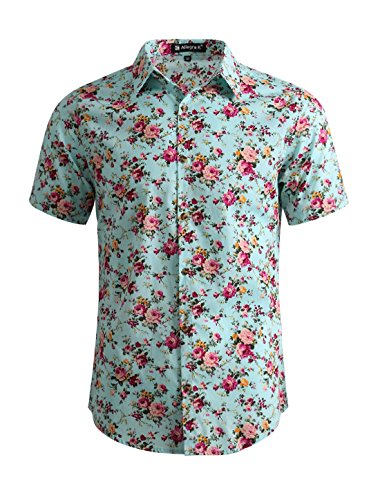 uxcell Men Casual Cotton Slim Fit Floral Print Short Sleeve Button Down Shirt Mint L(US 42)