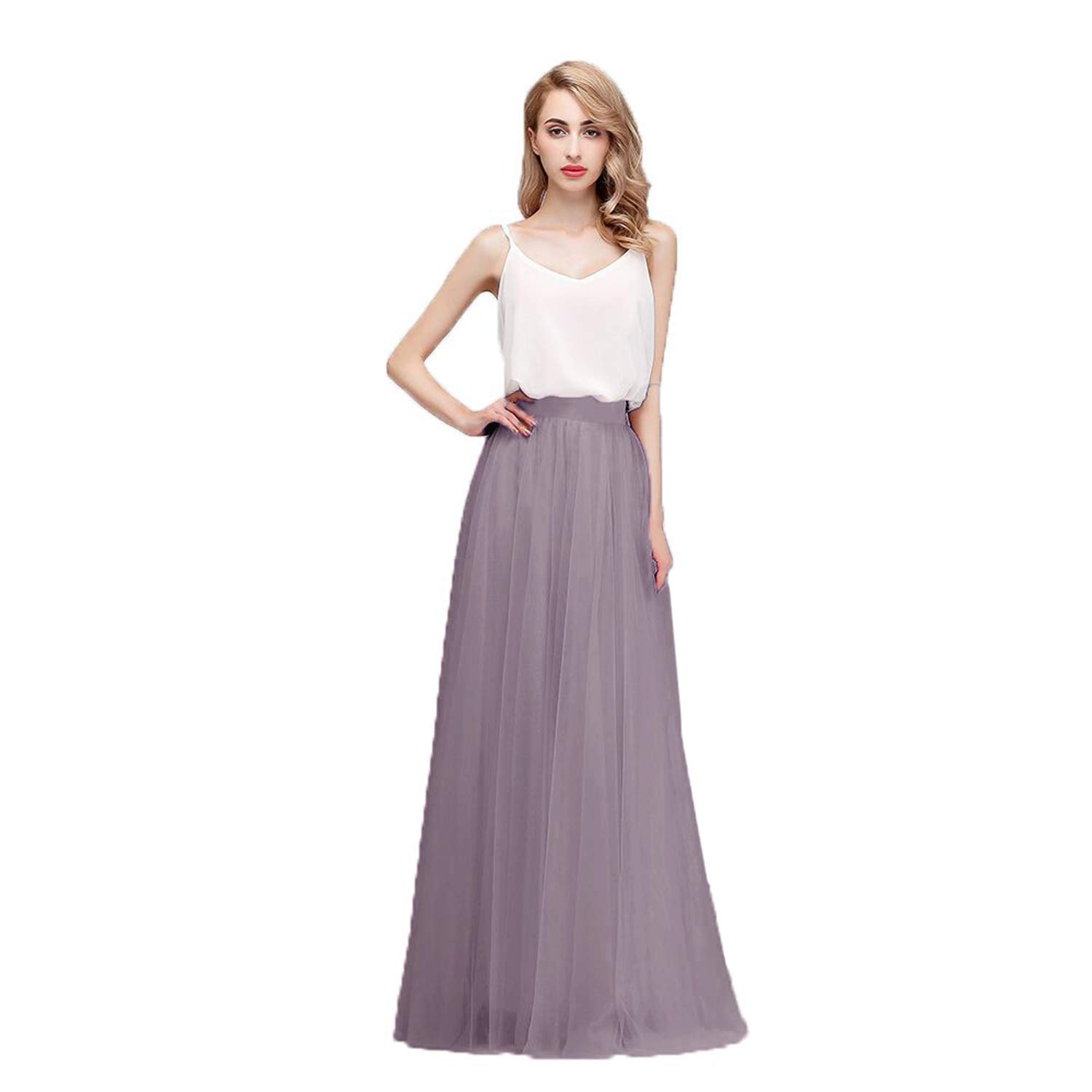 Honey Qiao Women's Maxi High Waist Skirts Grey Tulle Holiday Formal Skirt by Honey Qiao