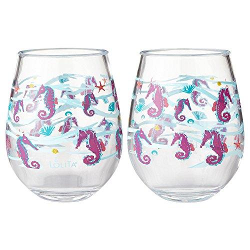 Enesco Designs by Lolita Seahorse Acrylic Stemless Wine Glasses, Set of 2, 17 oz.