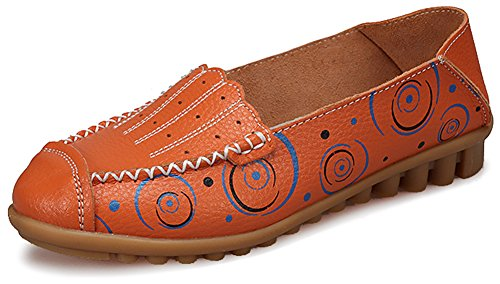 Fangsto Womens Leather Floral Loafers Flats Shoes Slip-Ons Sty-3 Orange twgnZ