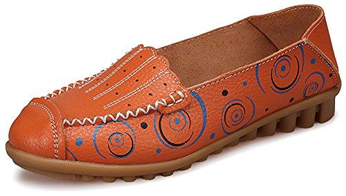 Fangsto Mujeres Cuero Mocasines Florales Pisos Zapatos Slip-ons Sty-3 Naranja