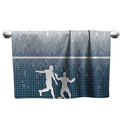 (alisoso Soccer,Kids Bath Towels Illustration of A Cheering Crowd Silhouette Watching Penalty Kick in Soccer Match Bath Towels for Kids Blue White W 35