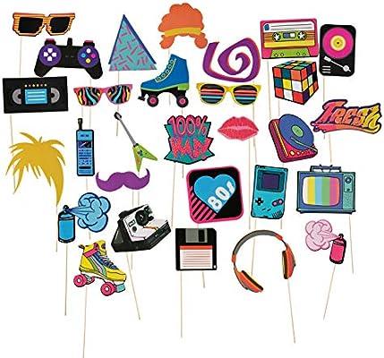 Pack de 30 accesorios para fiesta de 80 cumpleaños premontados, accesorios de decoración para fiesta de cumpleaños con diseño de bambú para niñas, mujeres, varios diseños: Amazon.es: Hogar