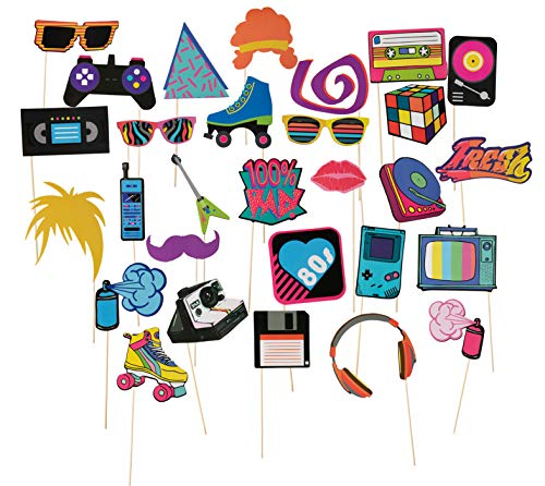 80s Pre-Assembled Photo-Booth Props - 30-Pack Pre-Made 80s Party Supplies, 1980s Theme Birthday Party Decoration Accessories on Bamboo Sticks for Girls, Women, Assorted Designs -