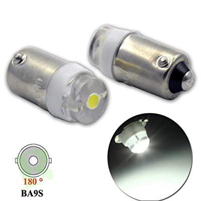 Ruiandsion 2pcs BA9S LED Bulbs 0.5W AC 6V 6000K White 200LM COB 1SMD LED Interior Light License Plate Lights Reading Lights,Non-polarity: Automotive
