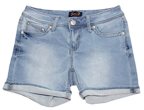 Seven7 Womens Cuffed 5 Denim Short with Embroidered E Loop Pockets (6, Powell Blu)