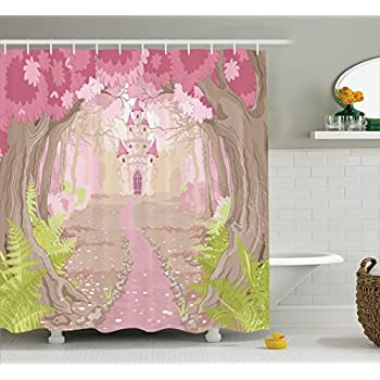 Ambesonne Teen Girls Decor Collection Path To The Fairy Tale Princess Castle In Fantasy Forest Landscape Artwork Print Polyester Fabric Bathroom Shower