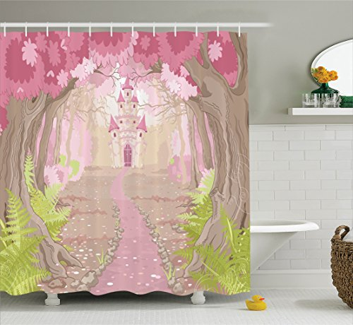 Princess House Fantasia Set (Ambesonne Teen Girls Decor Collection, Path to the Fairy Tale Princess Castle in Fantasy Forest Landscape Artwork, Polyester Fabric Bathroom Shower Curtain, 84 Inches Extra Long, Green Beige Pink)