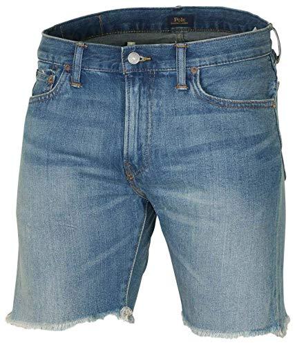 Polo Ralph Lauren Men's Sullivan Slim Jean Short, Fray Bottom, Destruct Denim Shorts (40, Blue Fray Bottom)