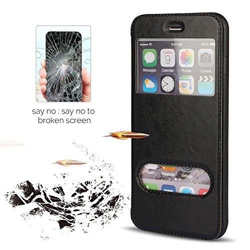 Funda iPhone 6 6s , Cubierta iPhone 6s, E-Lush Premium Cuero Wallet Flip PU Book Style Cuero Bolso para Apple iPhone 6 / 6s 4.7 Ultra Delgado Caja Protección Caja con Diseño Creativo - Doble Ventana  Negro