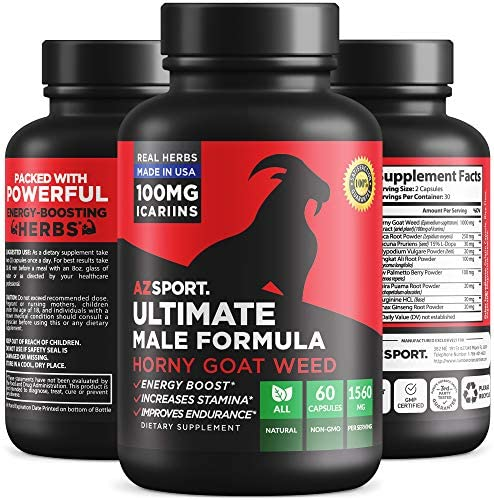 AZS Premium Male Enhancing Pills 10X Strength – Increase Size, Energy, Drive and Performance – All Natural Horny Goat Weed Supplement, Gluten Free, Non-GMO, 60 Caps