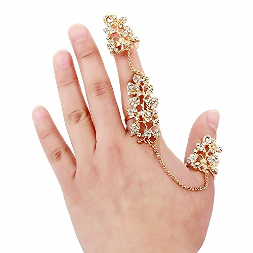 Multi Styles Adjustable Plating Gold Rings Double Finger Stack Knuckle Band Hollow Rings (Style J) - Multi Finger Ring