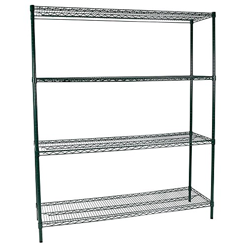 Apollo Hardware Commercial Grade Green Epoxy 4-Shelf NSF Wire Shelving Rack, 18