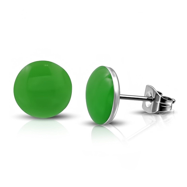 Stainless Steel 2 Color Green Circle Stud Earrings (Pair)
