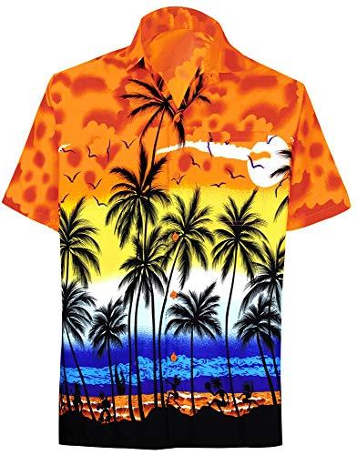 LA LEELA Shirt Casual Button Down Short Sleeve Beach Shirt Men Aloha Pocket 214