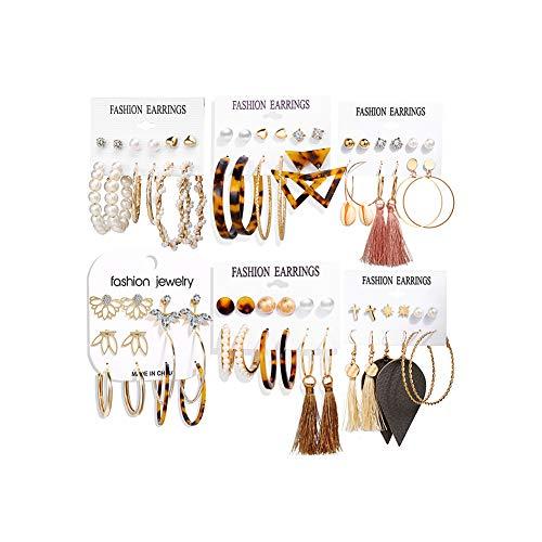 36 Pairs Fashion Tassel Earrings Set for Women Girls Bohemian Acrylic Hoop Stud Drop Dangle Earring Leather Leaf…