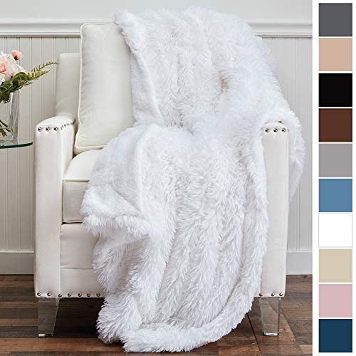 The Connecticut Home Company Shag with Sherpa Reversible Throw Blanket, Super Soft, Large Plush Wrinkle Resistant Blankets, Warm and Hypoallergenic Washable Couch or Bed Throws, 65x50, White (Celebrity Bed Sheets)