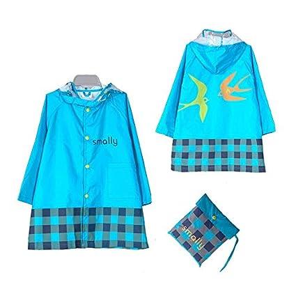 453701a17a GIM Chubasquero infantil resistente al agua lluvia poncho chubasquero  impermeable protección contra la intemperie para niñas