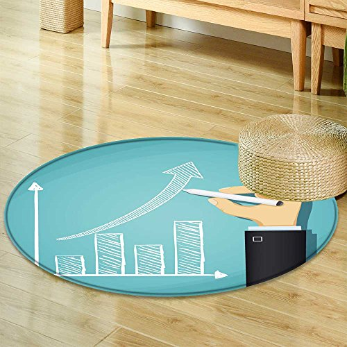 Growth Rug Chart (Non Slip Round RugsHuman Hand Drawn Growth Chart Success in Business Cartoon Illustration Oriental Floor and Carpets-Round 63