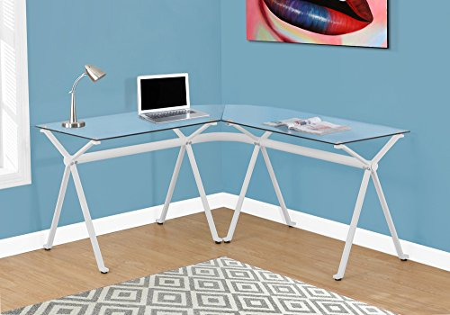 WHITE METAL COMPUTER DESK WITH TEMPERED GLASS Furnituremaxx