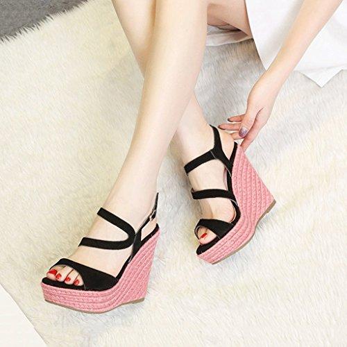Platform Woven Black Dream Black Shoes 12cm Elegant Ankle Toe Women Heels Wedges Open Sandals WEaY5pqYw