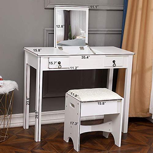 (Flip Single Mirror Double Drawers Straight Feet Dresser White)