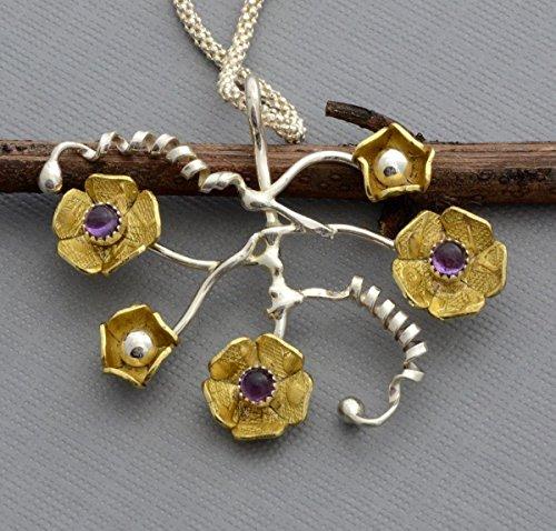 (Amethyst necklace brass gold flower pendant sterling silver February birthstone jewelry)