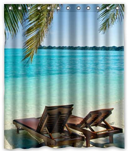 Custom Special Design Beach Chairs Shower Curtain S3